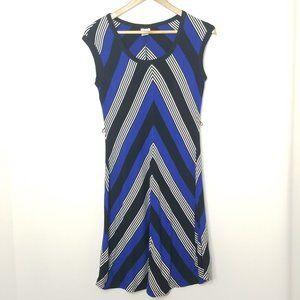 Cache | Chevron Stripe Sheath Dress Short Sleeve 2
